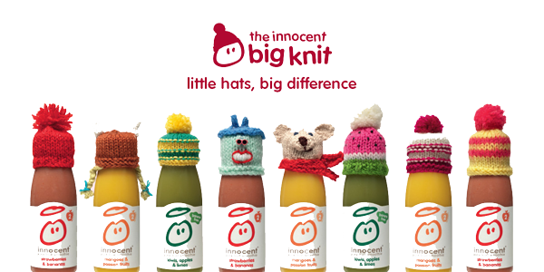 image of Innocent drinks wearing the big knit hats